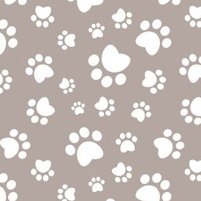 Small scale // Paw prints // brown taupe background white animal foot prints