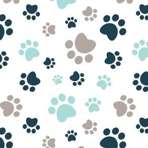 Small scale // Paw prints // white background brown taupe navy blue and aqua animal foot prints