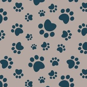 Small scale // Paw prints // brown taupe background navy blue animal foot prints