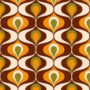 Ogee retro 70s ovals brown, orange Fabric