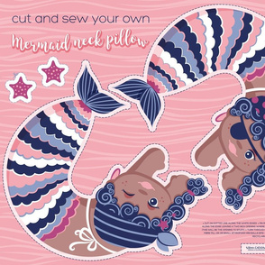 Cut and sew your own pirate mermaid neck pillow // blue violet pink and purple