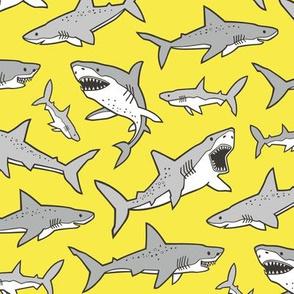 Sharks Shark Grey on Bright Yellow