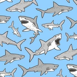 Sharks Shark Grey on Bright Blue