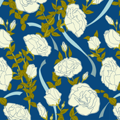White Roses - Blue - Medium