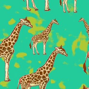 Giraffe in forest with green yellow shade