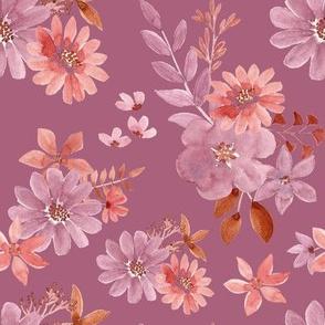 """8"""" Watercolour florals mauve"""