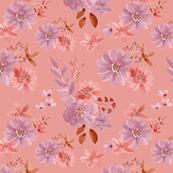 """12"""" Watercolour florals coral"""