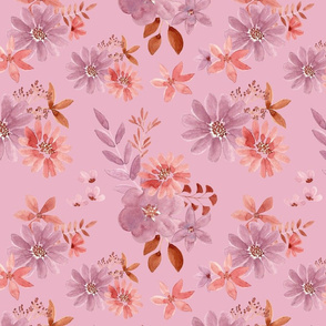 "12"" Watercolour florals pink"