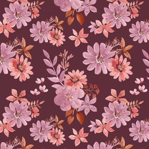 """12"""" Watercolour florals burgundy"""