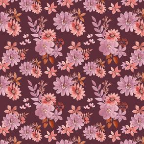 """8"""" Watercolour florals burgundy"""