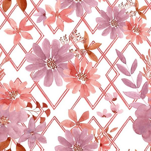 """12"""" Geometric watercolour florals"""