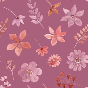 """8"""" Delicate watercolour florals mauve"""