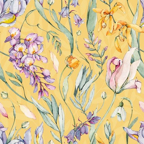 Watercolor Botanical Yellow-059