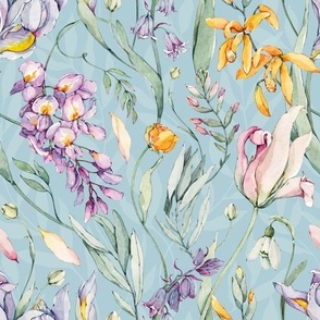 Watercolor Spring Floral Pattern-059
