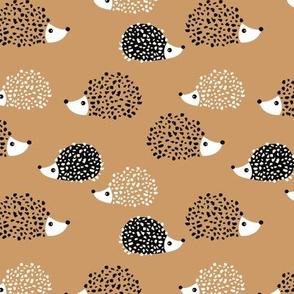 Scandinavian sweet hedgehog illustration for kids gender neutral cinnamon khaki brown