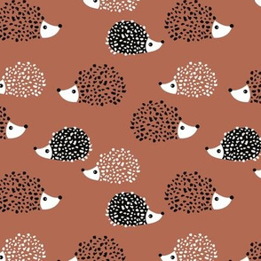 Scandinavian sweet hedgehog illustration for kids gender neutral stone red