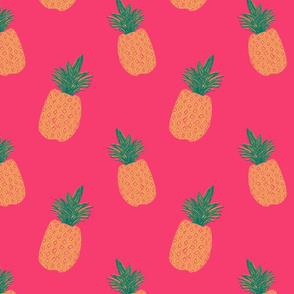 Pineapple Block Print - Pink