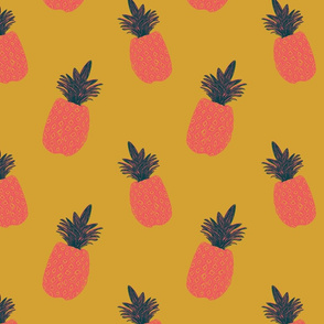 Pineapple Block Print - Mustard