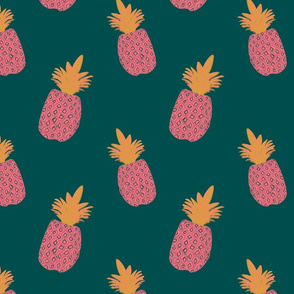 Pineapple Block Print - Green