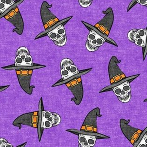 skull witches - halloween witch hat fabric - purple - LAD20