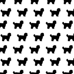 Shihtzu Dog Silhouettes B&W