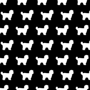 Shihtzu Dog Silhouettes Black White
