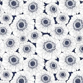Navy & White Anemones (small scale)