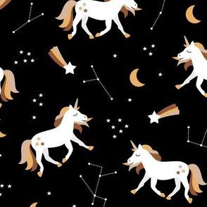 Magical universe rainbow constellation unicorn and shooting stars kids nursery design black brown neutral