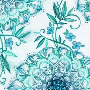 Mint and Teal Boho Nature Mandala - large