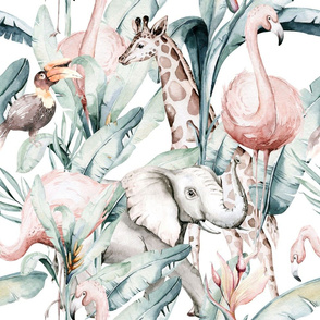Watercolor African pink flamingo bird, elephant,  hornbill, giraffe and green jungle