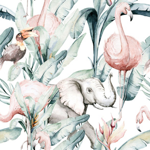 Watercolor African pink flamingo bird, elephant,  hornbill and green jungle greenery 1