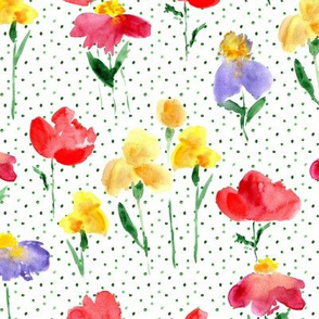 Bold bloom with dots - watercolor summer flowers