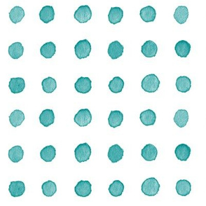 Watercolor Dots in Teal Blue (large scale) | Watercolor fabric, polka dots, dotty pattern fabric in blue green on white.