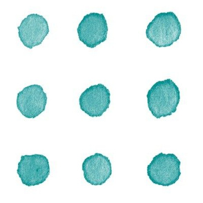 Watercolor Dots in Teal Blue (xl scale) | Watercolor fabric, polka dots, dotty pattern fabric in blue green on white.