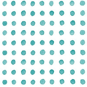 Watercolor Dots in Teal Blue | Watercolor fabric, polka dots, dotty pattern fabric in blue green on white.