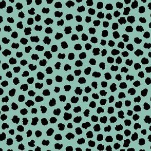 Rough & wild cheetah wild cat spots animal print nursery minimal trend sage green black