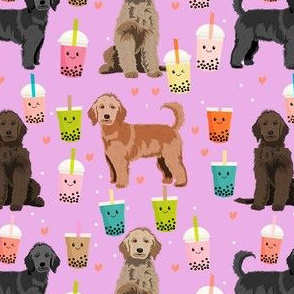 golden doodle boba fabric - dog fabric - purple