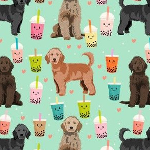 golden doodle boba fabric - dog fabric - mint