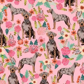 louisiana catahoula leopard dog floral fabric - pink