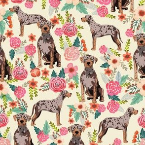 louisiana catahoula leopard dog floral fabric - cream