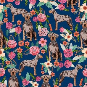 louisiana catahoula leopard dog floral fabric -  navy