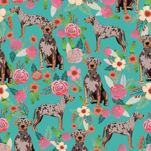 louisiana catahoula leopard dog floral fabric -  turquoise