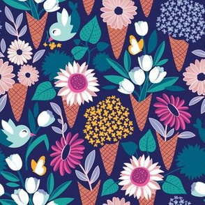 Small scale // Midsummer I scream flower cones // navy blue background pink magenta yellow and teal and violet flowers bouquets