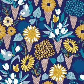 Small scale // Midsummer I scream flower cones // navy blue background blue teal and yellow flowers bouquets