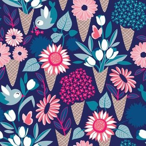 Small scale // Midsummer I scream flower cones // navy blue background blue teal and pink flowers bouquets