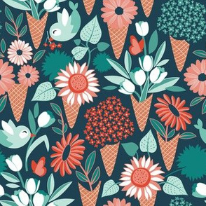 Small scale // Midsummer I scream flower cones // green background green aqua and orange flowers bouquets