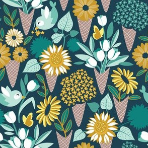 Small scale // Midsummer I scream flower cones // green background green aqua and yellow flowers bouquets
