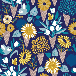 Normal scale // Midsummer I scream flower cones // navy blue background blue teal and yellow flowers bouquets