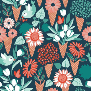 Normal scale // Midsummer I scream flower cones // green background green aqua and orange flowers bouquets