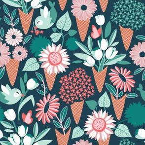 Small scale // Midsummer I scream flower cones // green background green aqua pink and coral flowers bouquets